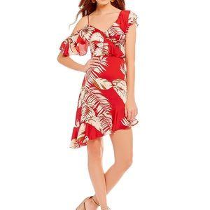 Lucy Paris faux wrap red palm floral dress EUC